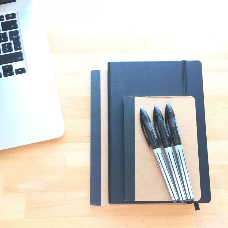 Writer's new notepads and pens